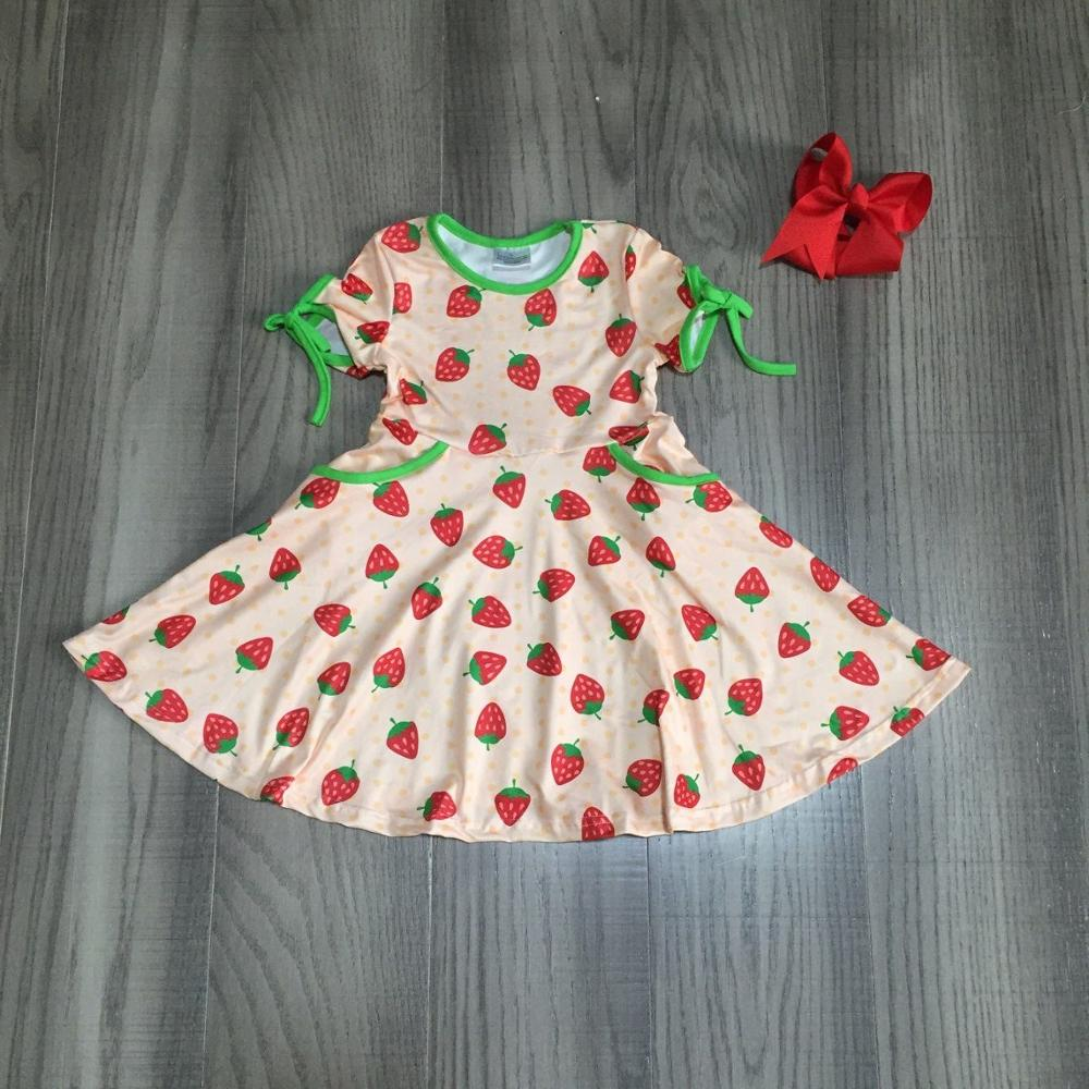 Baby Girls Summer Dress Girls Kids Strawberry Dress With Bow