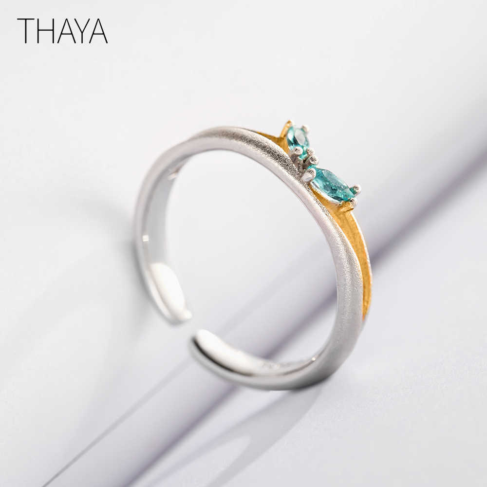 Thaya Original Break ผ่านแหวนหญิง S925 เงินบุคลิกภาพที่เรียบง่ายปรับนิ้วมือแหวน Zircon โรแมนติกสำหรับผู้หญิง