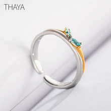 Thaya Original Break through female Rings S925 Silver Simple Personality Adjustable Finger Zircon Ring Romantic for Women(China)