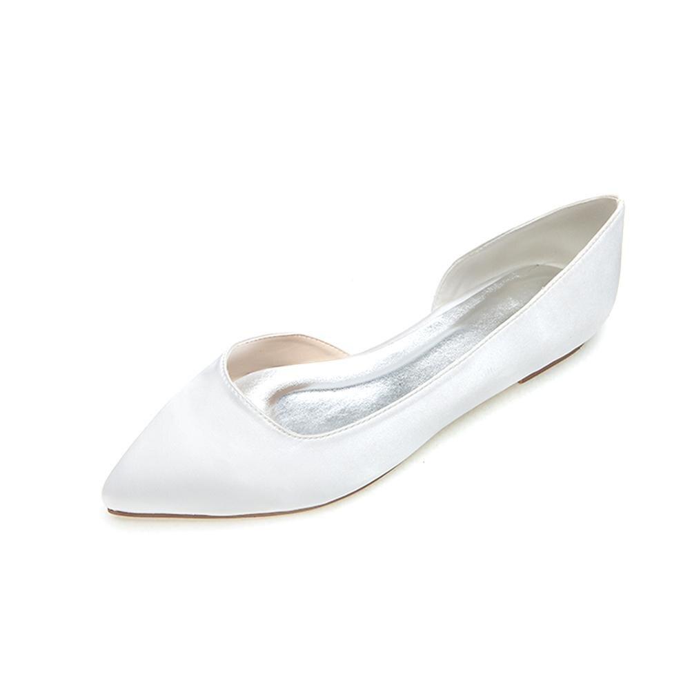 2020 Women Satin Wedding Flats head for Bride Formal Evening Party Dress Flat Shoes Women