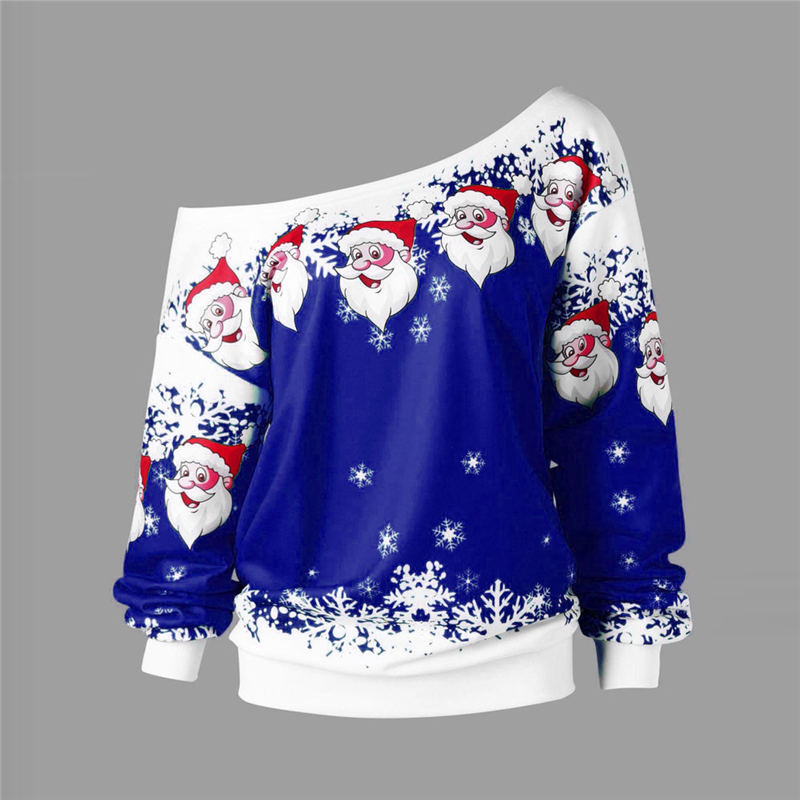 2019 Ugly Christmas Sweater Santa Claus Printed Loose Snowflake Sweater Unisex Pullover Autumn Winter Blouses Christmas Clothes