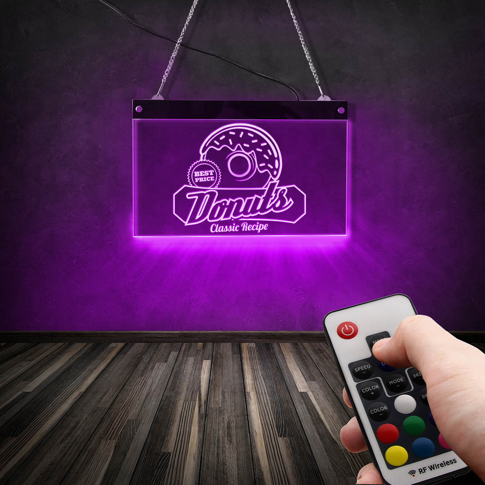 Donuts Food LED Neon Sign Classic Recipe Hanging Colorful lighting lamp Wall Decor Sign Sweets Snack LED Sign image