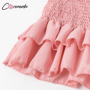 Image 5 - Conmoto ruches bodycon zomer jurk vrouwen spaghetti band strand plus size jurken lange jurk vestidos