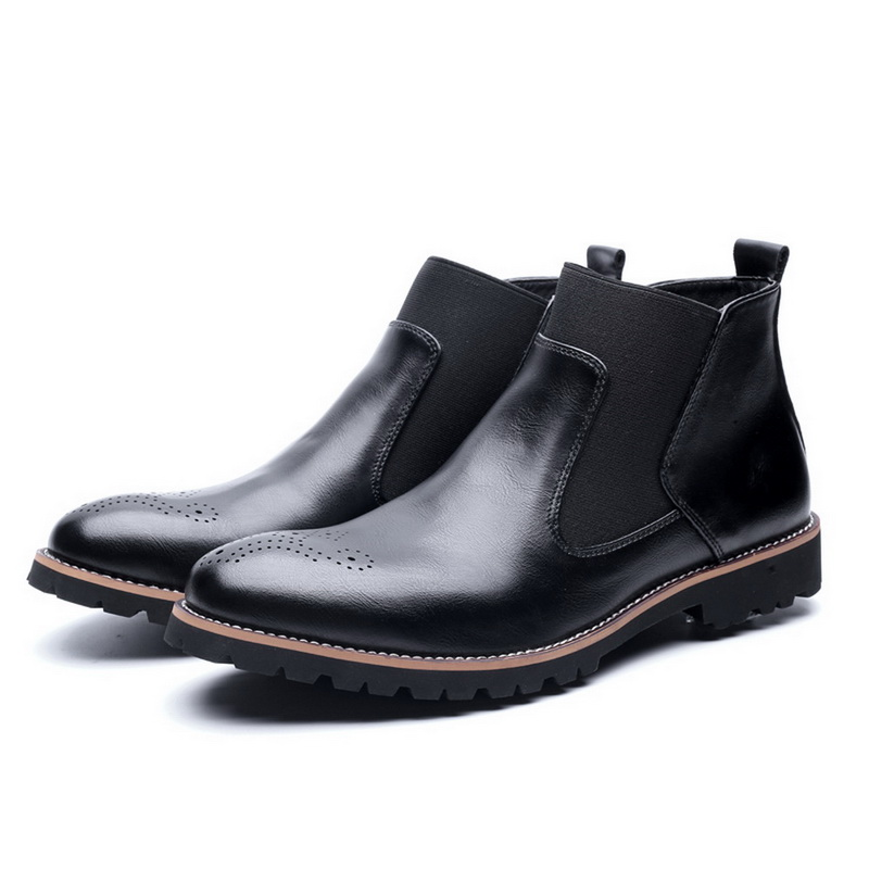 JODIMITTY New Chelsea Boots Men Genuine Leather Decent Men Ankle Original Male Short Casual Shoes British Style Winter Autumn