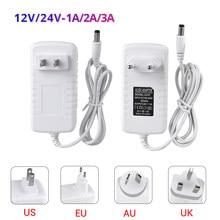 Fuente de alimentación conmutada, transformador de 12 V, 24 V, 110V, 220V, de 12 V CA a CC y 24 V, adaptador de corriente de tira LED CCTV, 3A, EU, US, UK, AU