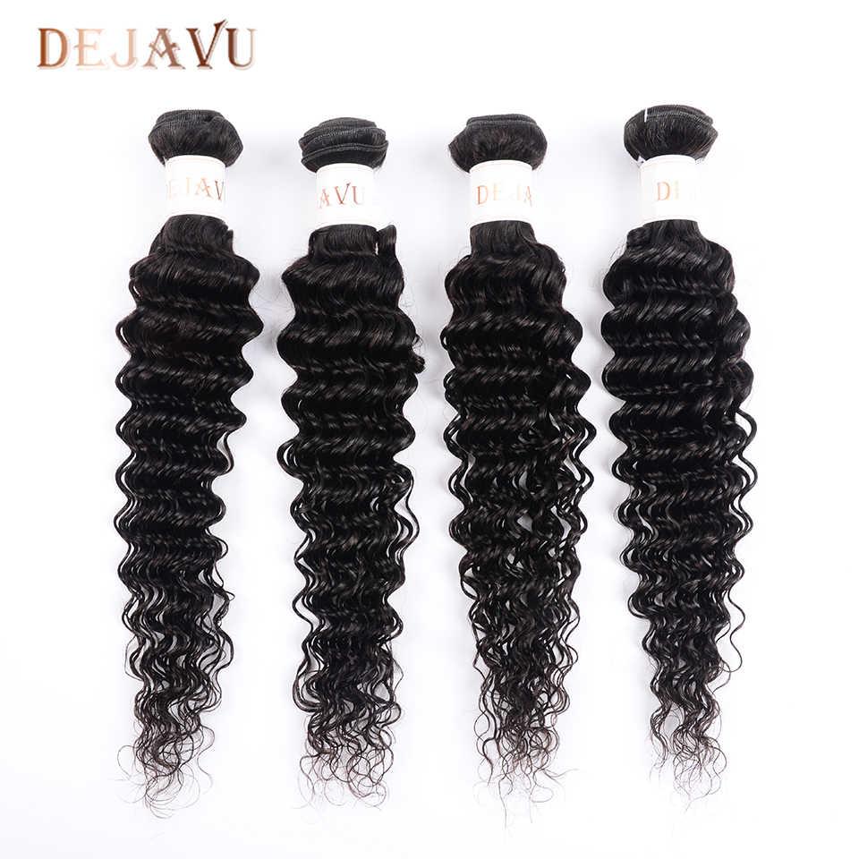 Pelo humano de la onda profunda india de Dejavu 4 paquetes de extensión del pelo Natural no Remy 100% cabello humano tejido 8- 28 pulgadas