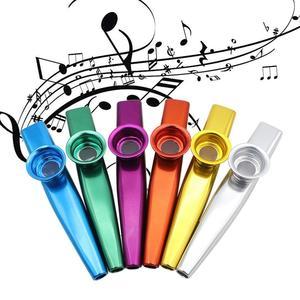 1pc Kazoo en métal avec 6 Kazoo flûte diaphragme bouche flûte Harmonica pour débutants enfants adulte fête cadeaux Instrument de musique(China)