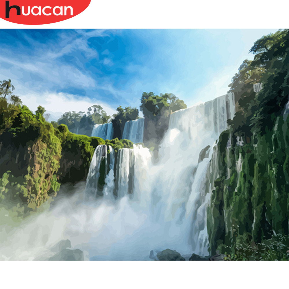 HUACAN Painting By Number Waterfall Scenery Kits Drawing Canvas HandPainted Gift DIY Oil Pictures By Numbers Summer Home Decor