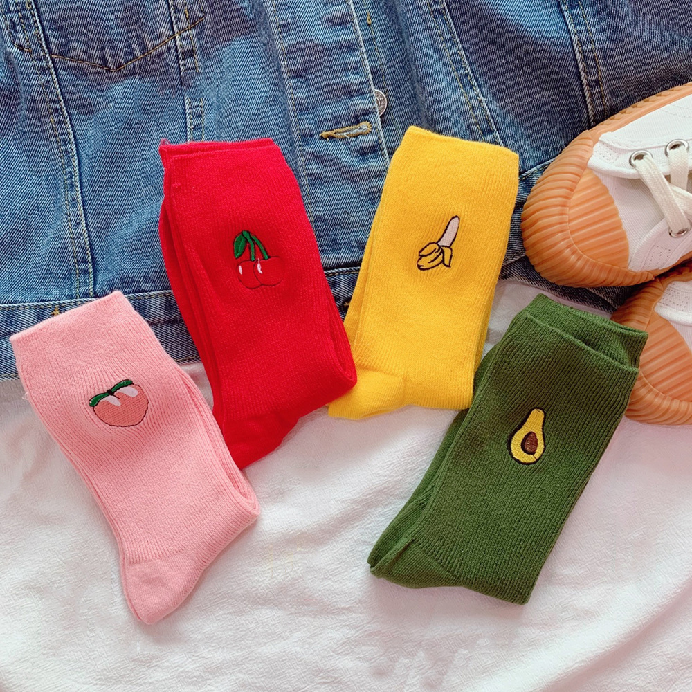 Women Harajuku Cotton Medium Socks Short Avocado Solid Pink Red Cute Kawaii Socks Hipster Socks
