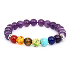 Classic Seven Colors Natural Stone Bead Bracelets for Men Women Charm Elastic Hand Jewelry Gift DropShipping