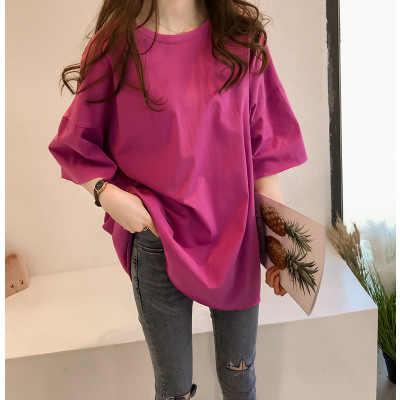 Tshirt 여성 2020 새로운 여름 스타일 솔리드 컬러 가을 고품질 양면 닦 았된 우유 vestidos dropshipping t045