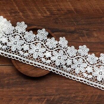Белая Цветочная кружевная вышитая лента, 1 ярд в партии, сделай сам, Свадебный пошив, аксессуары ручной работы