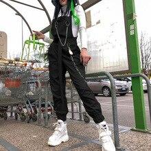 100% Cotton Neon Green Jumpsuits Womens Goth Clothing Shoulder Chain Buckle Pocket Romper 2019 Women Cargo Jumpsuit Streetwear