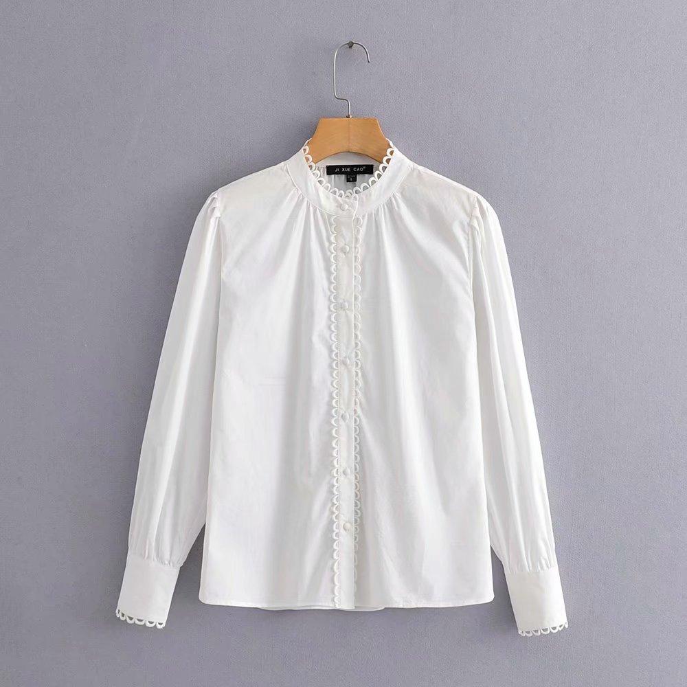 2019 Women Elegant Lace Wave Edge Decprate White Blouse Shirts Women Stand Collar Office Blusas Chic Autumn Feminina Tops LS4246
