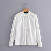 2019 women elegant lace wave edge decprate white blouse shirts