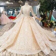 LS11003 champagne kant trouwjurken 2019 vierkante hals doorkijkmodel lange mouwen sexy v back jurk met shiny lange trein