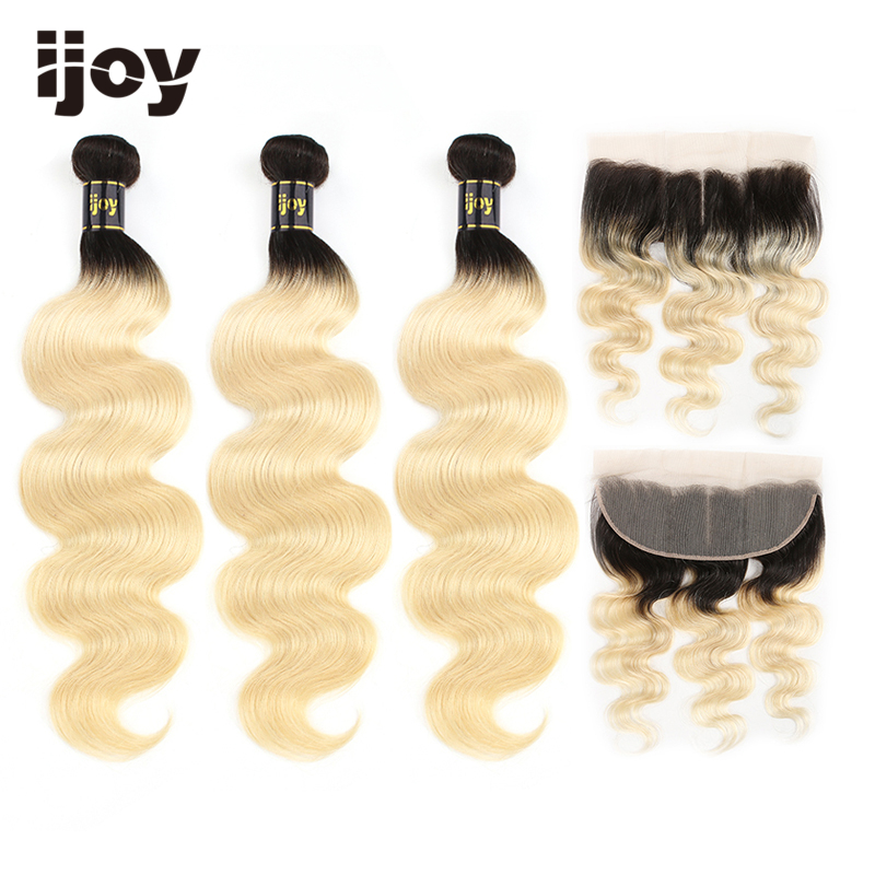 Body Wave 8''-26'' High Ratio Brazilian Non-Remy Ombre Platinum Blonde #613 3 Bundles With Frontal 4x13 Lace Human Hair IJOY