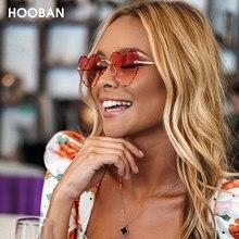 Hooban 2020 moda coração forma feminina óculos de sol marca designer adorável sem aro óculos de sol para feminino do vintage rosa senhoras tons