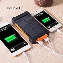 Carregador solar 30000 mah impermeável, banco de energia solar portas usb carregador externo para smartphone xiaomi com luz led