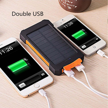 Solar Power Bank Waterproof 30000mAh Solar Charger USB Ports External Charger Powerbank for Xiaomi Smartphone with LED Light 20000mah solar power bank dual usb powerbank waterproof external battery portable solar battery charger charging with led light