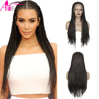 Long Box Braided Wigs Handmade 13x4 Lace Front Synthetic Wig Soft Heat Resistant Fiber With Baby Hair For Women Alibaby