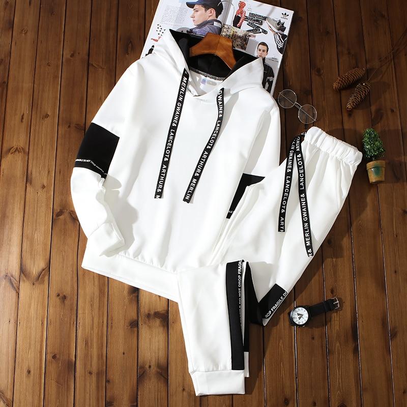 Spring Mens Sweatshirts Sets Fashion Sporting Suits Hoodies Men Sport Pants Polyester Sweatpants Men Hoodies Clothing Sweatshirt
