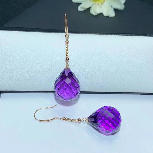 shilovem 18K yellow Gold Piezoelectric Amethyst stud earrings wedding fine Jewelry trendy  gift new 13*16mm  plantmyme1316832z 3