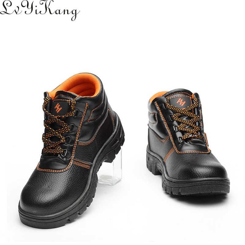 2019 sonbahar kış savaş erkekler yüksek Top ayakkabı burnu Anti Smashing iş çizmeleri erkek güvenlik ayakkabıları su geçirmez kaymaz iş ayakkabısı