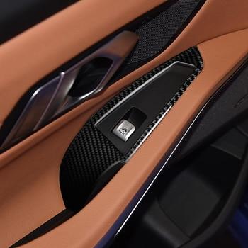 For 2019 2020 BMW G20 325 330 335 4pcs/lot Car sticker ABS Carbon fiber grain car window lift panel decoration cover