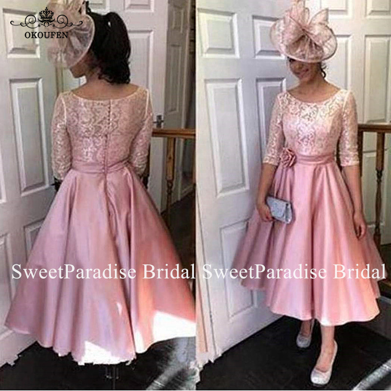 Tea Length Mother Of The Bride Dresses With 1/2 Long Sleeves Sheer Neck Pink Lace And Satin Skirt Evening Dress For Women