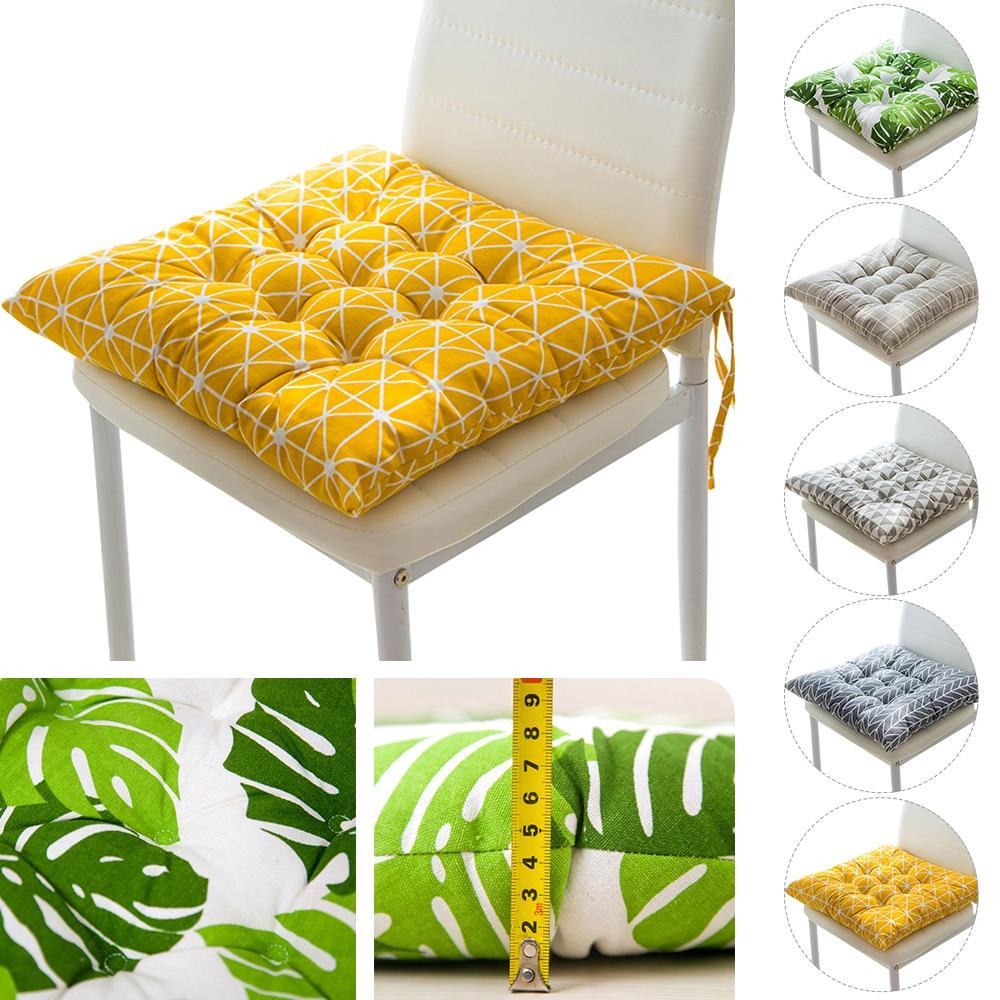 Novo quadrado de algodão cadeiras de sofá almofada de assento folha impressa não-deslizamento assento de jantar almofadas de cadeira almofada travesseiro macio