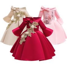 For 1 2 4 6 8 10 Years Girls Satin Glossy Dress Kids Elegant Party  appliques Flare sleeve Frocks baby Dress Vestidos Costumes-in Dresses from Mother & Kids on AliExpress