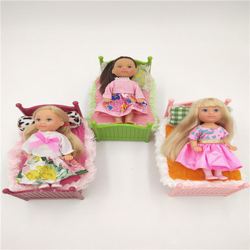 10sets/lot Genuine Brand new Little fashion girl doll with clothes+bed+pillow+blanket toy for girl mini princess playset gift