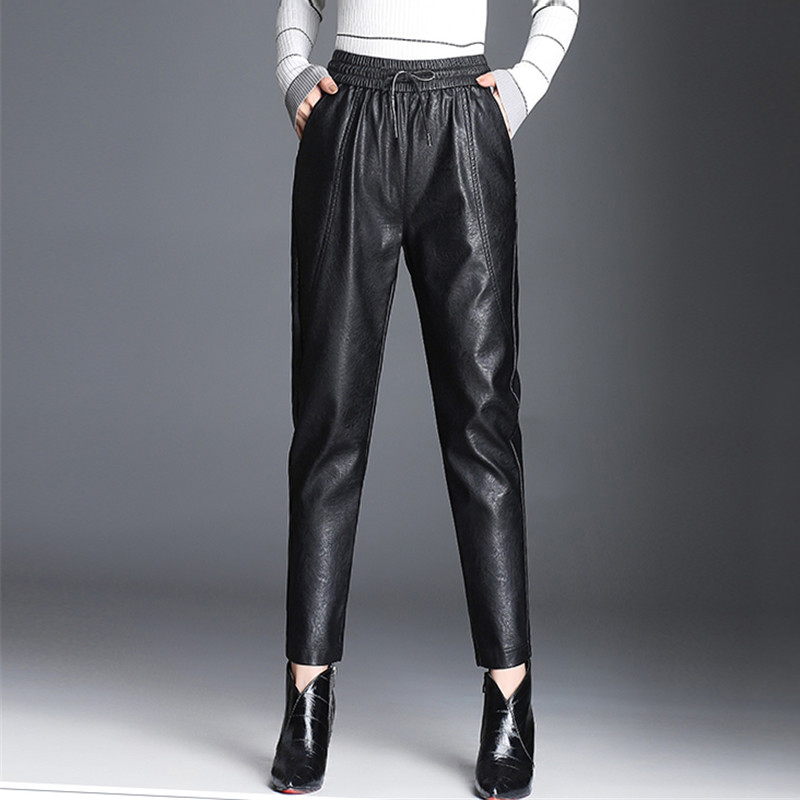 Women PU Leather Pants Fashion Drawstring Tie Ankle Trousers Elastic Waist Pants Pockets Bottoms Streetwear Pantalones Mujer