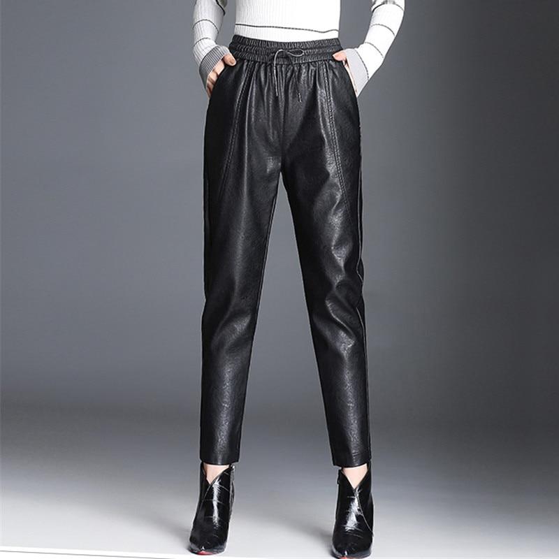 Women PU Leather Pants Fashion Drawstring Tie Ankle Trousers Elastic Waist Pants Pockets Bottoms Streetwear Pantalones Mujer