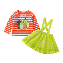 Halloween Costume for Girls 2pcs Set Cake Smash Outfit Pumpkin Suspender Dress Up Baby Kids Girls Clothes Halloween Party Outfit цена
