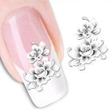 1 yaprak moda beyaz çiçek güzellik lehçe ürünleri Nail Art çıkartmaları fransız İpuçları su transferi dövmeler çıkartmalar tırnak aracı LASTZ