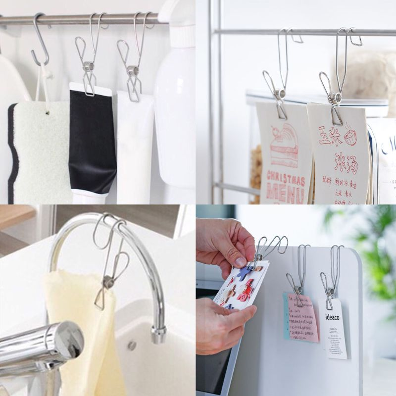 10 Pcs Stainless Steel Laundry Hanging Clip Hook Clothes Peg Boot Hanger Towel Holder Paper Files Binder Clip Snack Seal Storage