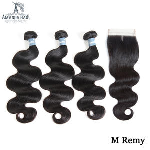 Amanda Body Wave Braziian Hair Bundles with Closure 4x4 130% Density 100% Remy Human Hair Weave Bundles with Lace Closure