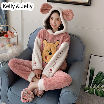 Winter thickened Yangzi Plush pajamas women's lovely cartoon cubs, hooded students girls' home clothes warm suit