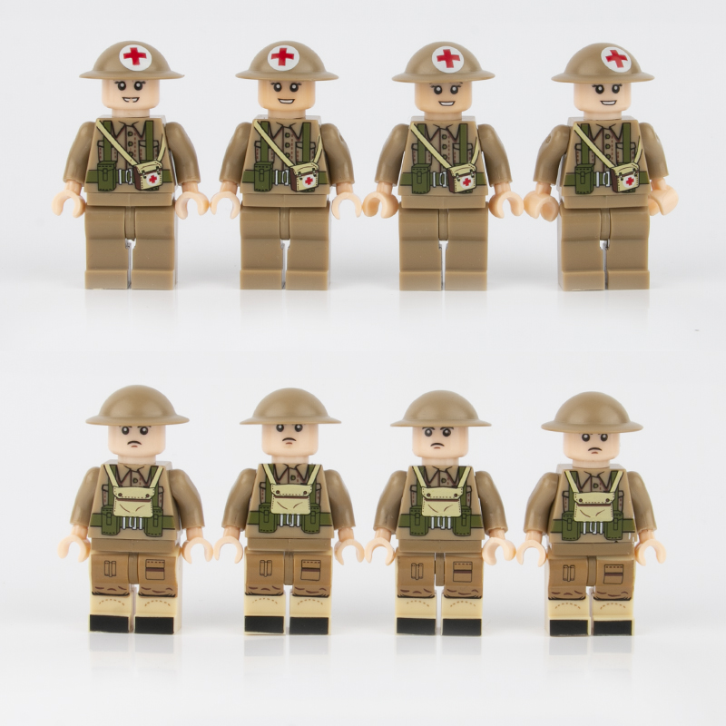 8PCS WW2 Military British Army Soldiers Figures Building Blocks Weapons Medic Parts Britain Accessories Brick Children Toys