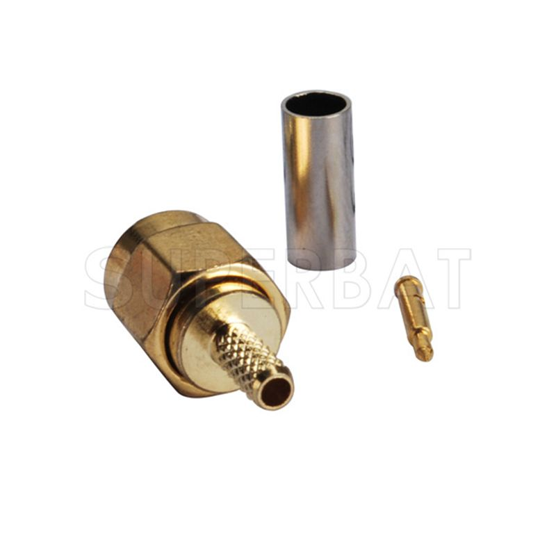 Superbat RF Coaxial Connector SMA Crimp Male Plug Connector For Coaxial Cable RG316, RG174, RG188, LMR100 Goldplated