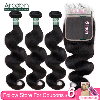 Aircabin Body Wave Bundles With 6x6 Closure Brazilian 100% Remy Human Hair Weave Natual Color 8-30 Inch Hair Extensions 10a natual color hair bundles 100