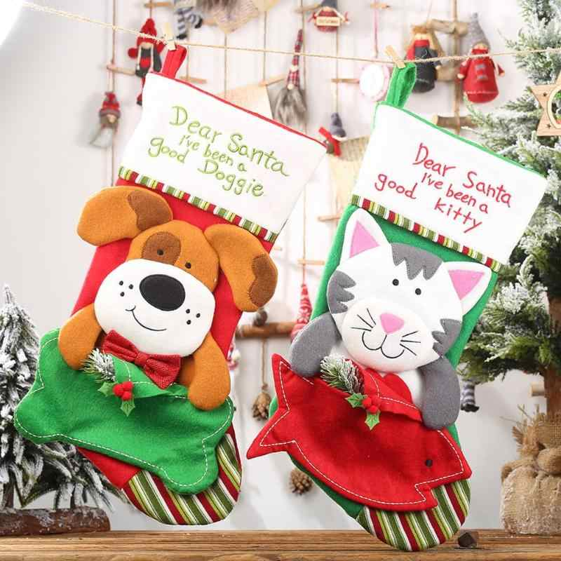 Christmas Dog Cat Shape Apple Bag Children Candy Stockings Home Pendant