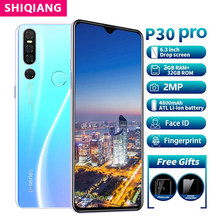 Shiqiang p30 pro telefone móvel android rom 32gb face id impressão digital smartphone 6.3 polegada 2 sim cartão beleza câmera wi-fi telefone