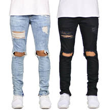 Mens Ripped Skinny Jeans Destroyed Frayed Biker Slim Denim Pants Trousers Zipper Men Casual Pants(China)