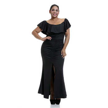 6XL Plus Size Elegant Formal Evening Party Dress Women Ruffle Off Shoulder Front Split Hem Black Dress Sexy Bodycon Dresses D30 burgundy sexy off shoulder irregular hem dress