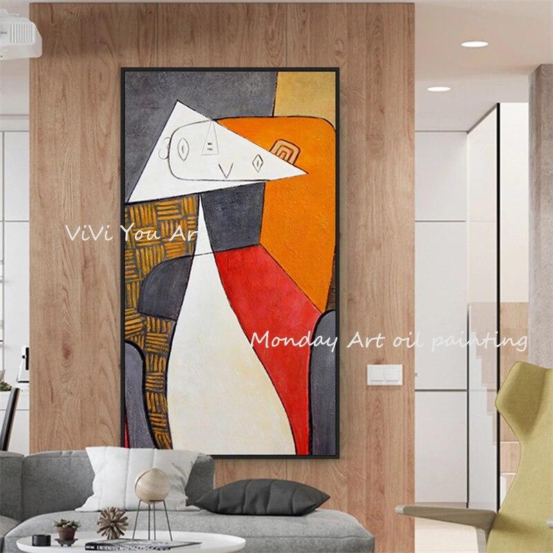 Style nordique peintures à l'huile peintes à la main abstraite toile peintures Art Picasso photos murales pour salon décor à la maison