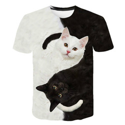 Boy and girl's lovely 3D cat clothing, Harajuku cartoon T-shirt, cute cat clothing, animal cartoon cartoon children's clothing
