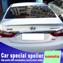 Pressure wings 2011 2012 2013 2014 2015 for hyundai sonata rear trunk roof wing spoiler ABS material high quality by primer best pu primer grey black unpainted sports car rear trunk spoiler wing for hyundai sonata 8 2011 2014 no drilling needed